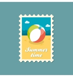 Beach ball flat stamp summertime vector