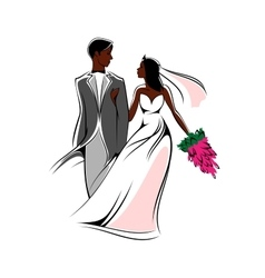 Happy young african bride and groom with flowers vector
