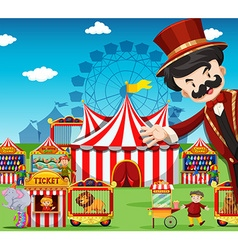 People working at the circus vector