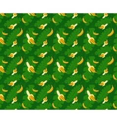Bananas pattern green background vector