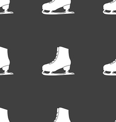 Ice skate icon sign seamless pattern on a gray vector