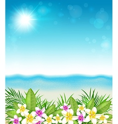 Pink and yellow tropical flowers and beach vector
