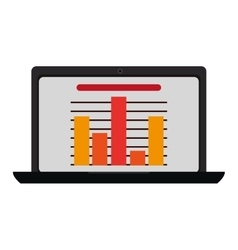 Laptop with bar graph vector