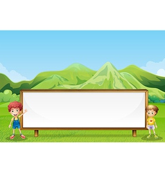 A big empty signboard at the field with two kids vector image vector image