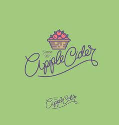 Apple cider logo hand lettering vector