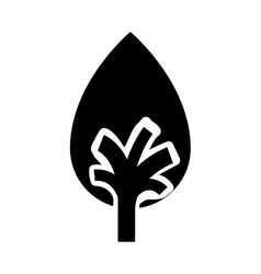 Black color tree trunk with leaves shape of drop vector