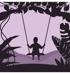 boy swing in tree enjoy time moment silhouette vector image vector image