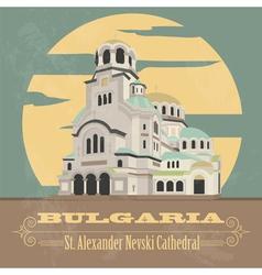 Bulgaria landmarks retro styled image vector