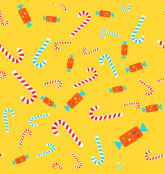 Candies seamless pattern lollipops and bonbons vector