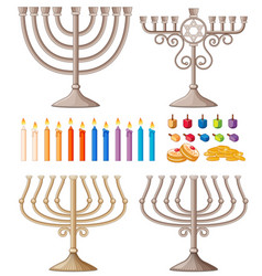 Candles and holders in different designs vector