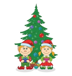 Christmas elves and fir tree vector image vector image