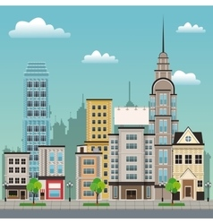 City street buildings tree design vector