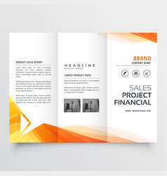 Company trifold brochure design with yellow wave vector