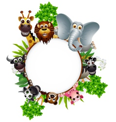 cute animal cartoon collection with blank sign and vector image vector image