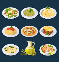 Different food from italian cuisine pasta pizza vector
