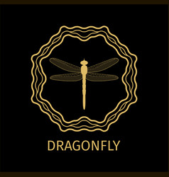 Dragonfly in calligraphy framework label vector