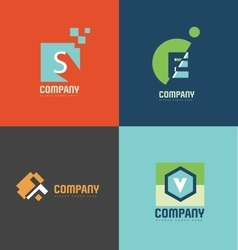 Flat letter logo icon set vector