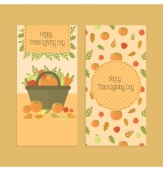 Flyers banners for thanksgiving day with pumpkins vector