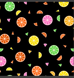 fruit seamless pattern in memphis style vector image