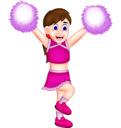 Funny cheerleading cartoon action with smiling vector