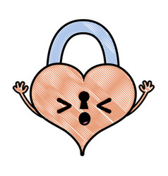 Grated sleeping heart padlock kawaii personage vector