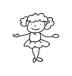 Hand drawing abstract happy cute girls line art vector