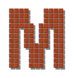 Letter m made from realistic stone tiles vector