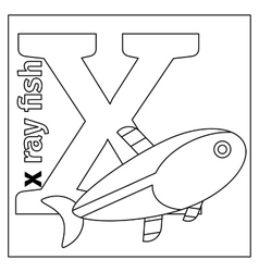 Letter X coloring page vector image