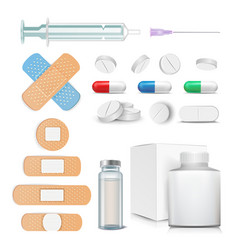 medical items set pills drugs ampoule vector image vector image