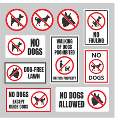 no dogs signs dog prohibited labels vector image vector image