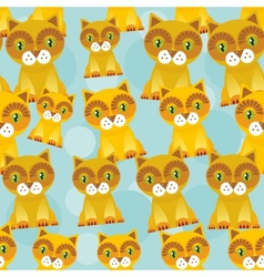 Seamless background with funny cats on blue vector image vector image