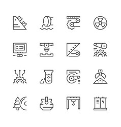 set line icons of industry vector image vector image