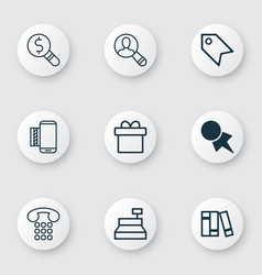 Set of 9 ecommerce icons includes bookshelf vector
