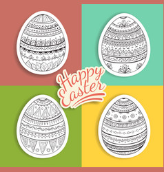 set of easter eggs stickers with fantasy patterns vector image vector image