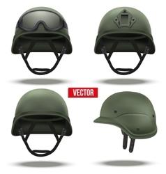 Set of military tactical helmets green color vector