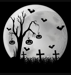 Silhouette background with bats in graveyard vector