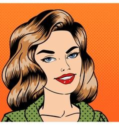 Smiling beautiful woman pop art vector