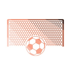 Soccer gate with ball on penalty point icon vector image