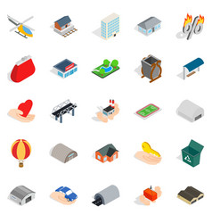 Urban infrastructure icons set isometric style vector
