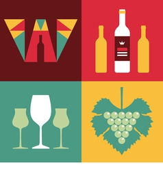 Wine in Flat Design Style vector image vector image
