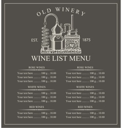Wine menu price vector