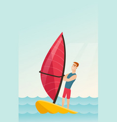 Young caucasian man windsurfing in the sea vector
