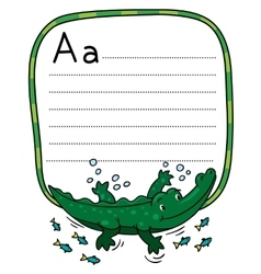 Little crocodile or alligator for abc alphabet a vector