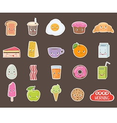 Breakfast Different emotions stickers collection vector image