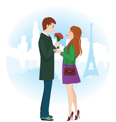 Lovers in Paris vector image