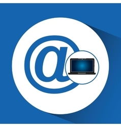 Laptop blue display mail social media vector