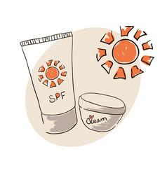 Doodle image sunblock cream for body skin care vector