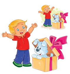 little boy opened a gift box and saw a vector image