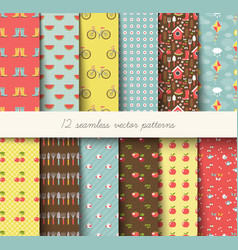seamless garden pattern vector image