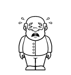 Black and white old man crying vector image